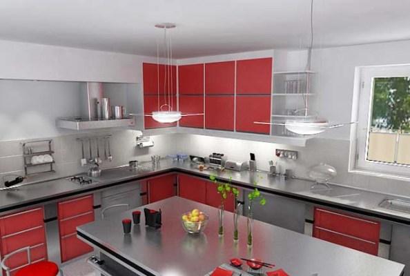 кухня серо-красная